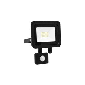 Ecolite Černý LED reflektor 20W city s čidlem 5000K denní bílá